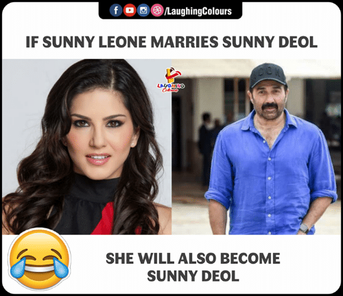 sunny leone: f LaughingColour:s  IF SUNNY LEONE MARRIES SUNNY DEOL  GHING  SHE WILL ALSO BECOME  SUNNY DEOL