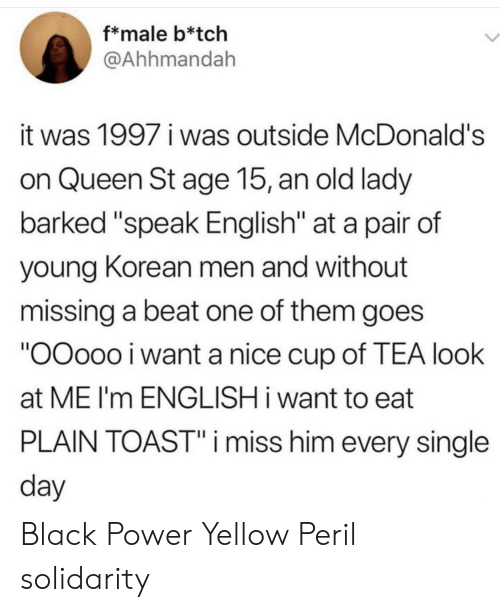 "Speak English: f*male b*tch  @Ahhmandah  it was 1997 i was outside McDonald's  on Queen St age 15, an old lady  barked ""speak English"" at a pair of  young Korean men and without  missing a beat one of them goes  ""OOoo0 i want a nice cup of TEA look  at ME I'm ENGLISH i want to eat  PLAIN TOAST""i miss him every single  day Black Power  Yellow Peril solidarity"