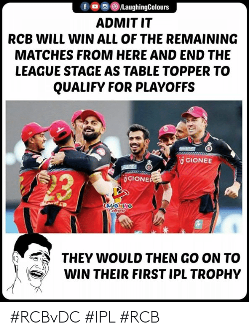 Topper: f O/LaughingColours  ADMIT IT  RCB WILL WIN ALL OF THE REMAINING  MATCHES FROM HERE AND END THE  LEAGUE STAGE AS TABLE TOPPER TO  QUALIFY FOR PLAYOFFS  GIONEE  造  UGIONE  LAUGHING  THEY WOULD THEN GO ON TO  WIN THEIR FIRST IPL TROPHY #RCBvDC #IPL #RCB