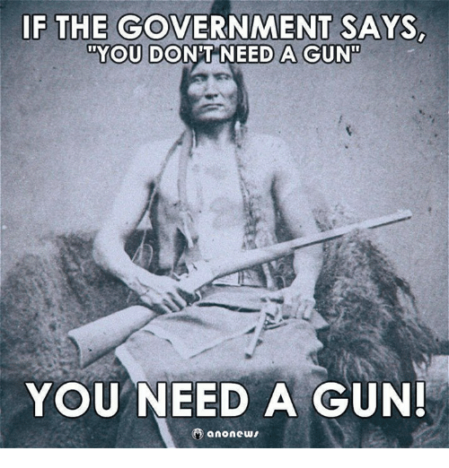 """Memes, Government, and 🤖: F THE GOVERNMENT SAYS  """"YOU DON'TNEED A GUN  YOU NEED A GUN"""