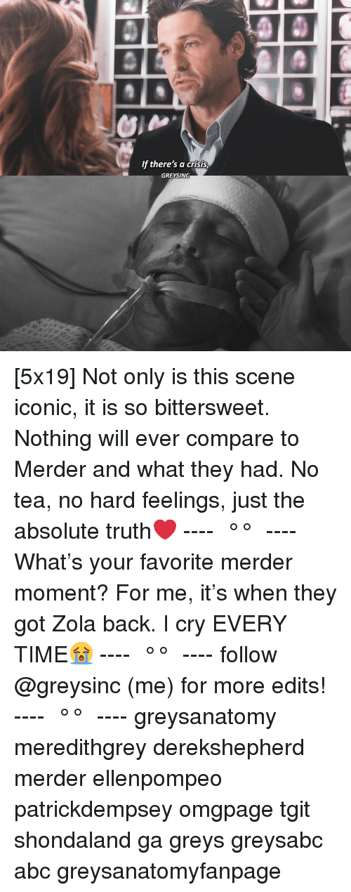 greys: f there's a crisis  GREYSING [5x19] Not only is this scene iconic, it is so bittersweet. Nothing will ever compare to Merder and what they had. No tea, no hard feelings, just the absolute truth❤️ ---- ≪ °✾° ≫ ---- What's your favorite merder moment? For me, it's when they got Zola back. I cry EVERY TIME😭 ---- ≪ °✾° ≫ ---- follow @greysinc (me) for more edits! ---- ≪ °✾° ≫ ---- greysanatomy meredithgrey derekshepherd merder ellenpompeo patrickdempsey omgpage tgit shondaland ga greys greysabc abc greysanatomyfanpage