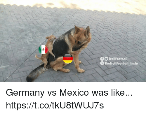 Memes, Germany, and Mexico: f9 TrollFootball  The TrollFootball_Insta Germany vs Mexico was like... https://t.co/tkU8tWUJ7s