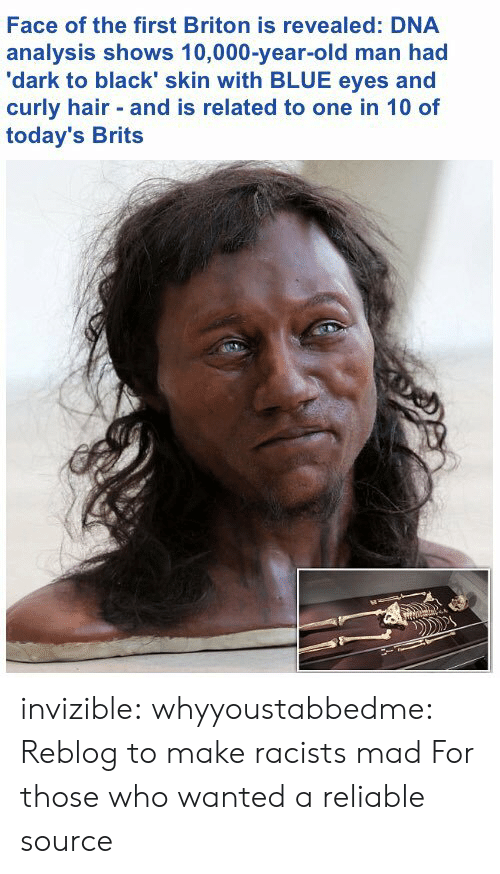 Reliable Source: Face of the first Briton is revealed: DNA  analysis shows 10,000-year-old man had  'dark to black' skin with BLUE eyes and  curly hair and is related to one in 10 of  today's Brits invizible:  whyyoustabbedme: Reblog to make racists mad  For those who wanted a reliable source