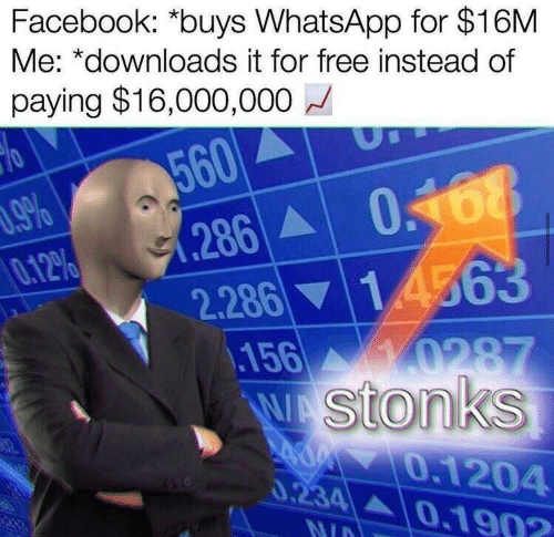 whatsapp: Facebook: *buys WhatsApp for $16M  Me: *downloads it for free instead of  paying $16,000,000  560  0.168  286  2.286 14563  .156  Wstonks  %60  0.12%  0287  0.1204  0.234 A0.190?  140  NID
