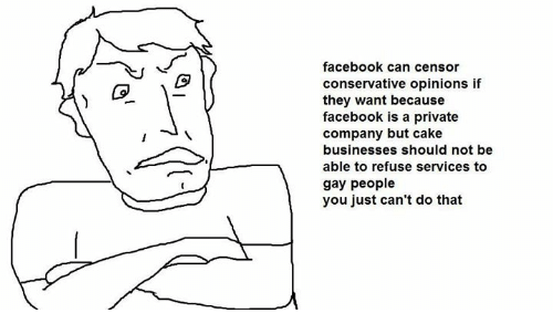 Dank Memes: facebook can censor  conservative opinions if  they want because  facebook is a private  company but cake  businesses should not be  able to refuse services to  gay people  you just can't do that