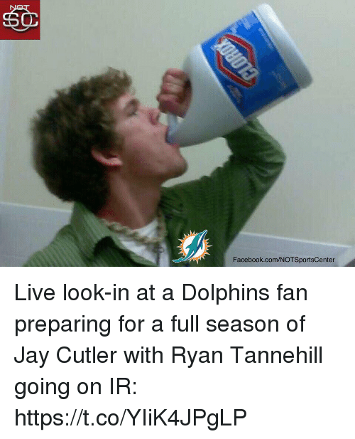 Jay Cutler: Facebook.com/NOTSportsCenter Live look-in at a Dolphins fan preparing for a full season of Jay Cutler with Ryan Tannehill going on IR: https://t.co/YIiK4JPgLP