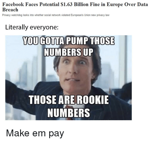 violated: Facebook Faces Potential $1.63 Billion Fine in Europe Over Data  Breach  Privacy watchdog looks into whether social network violated European's Union new privacy law  Literally everyone:  YOU GOTTA PUMP THOSE  NUMBERS UP  THOSE ARE ROOKIE  NUMBERS Make em pay