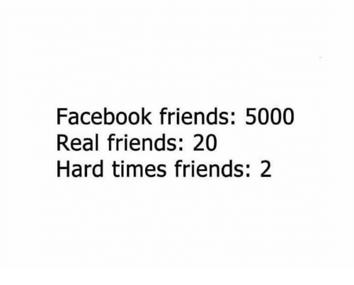 Hardness, Hardly, and  Hard: Facebook friends: 5000  Real friends: 20  Hard times friends: 2
