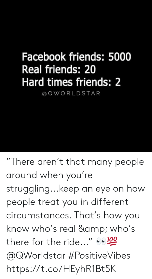 "Circumstances: Facebook friends: 5000  Real friends: 20  Hard times friends: 2  @ QWORLDSTAR ""There aren't that many people around when you're struggling...keep an eye on how people treat you in different circumstances. That's how you know who's real & who's there for the ride..."" 👀💯 @QWorldstar #PositiveVibes https://t.co/HEyhR1Bt5K"