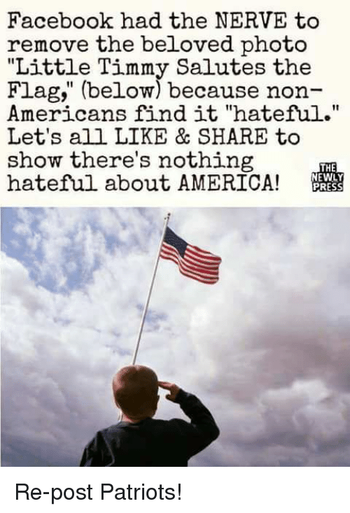 "America, Facebook, and Memes: Facebook had the NERVE to  remove the beloved photo  ""Little Timmy Salutes the  Flag,"" (below) because non-  Americans find it ""hateful.""  Let's all LIKE & SHARE to  show there's nothing  hateful about AMERICA!  THE Re-post Patriots!"