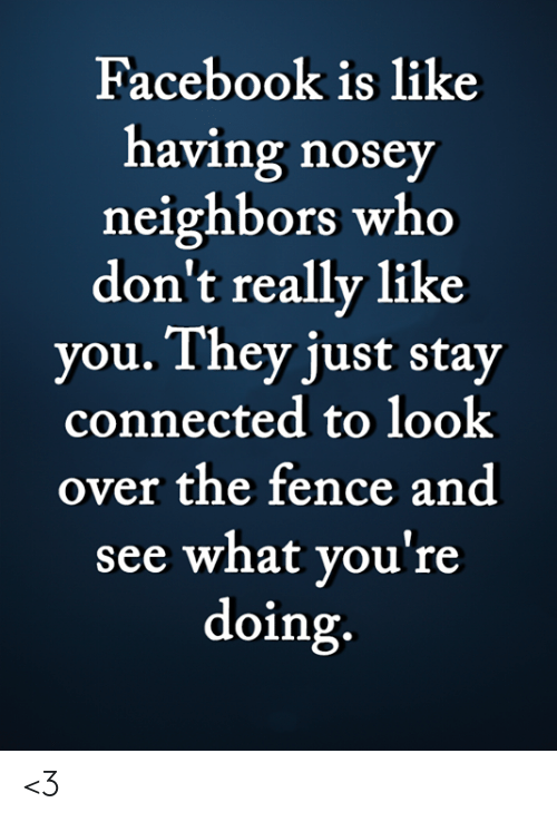 Connected: Facebook is like  having nosey  neighbors who  don't really like  you. They just stay  connected to look  over the fence and  see what you're  doing. <3