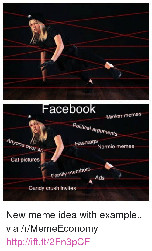 """hashtags: Facebook  Minion memes  Political arguments  Anyone over 4  Hashtags  Normie memes  Cat pictures  bers  Family mem  Ads  Candy crush invites <p>New meme idea with example.. via /r/MemeEconomy <a href=""""http://ift.tt/2Fn3pCF"""">http://ift.tt/2Fn3pCF</a></p>"""