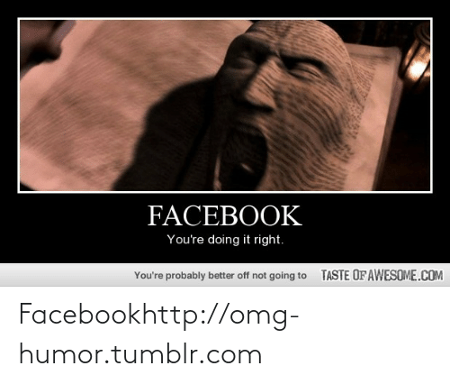 Youre Doing It Right: FACEBOOK  You're doing it right.  TASTE OFAWESOME.COM  You're probably better off not going to Facebookhttp://omg-humor.tumblr.com