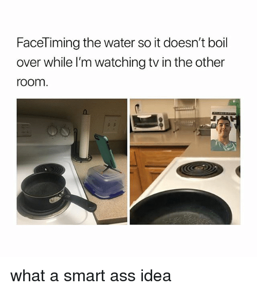 Ass, Water, and Girl Memes: FaceTiming the water so it doesn't boil  over while l'm watching tv in the other  room what a smart ass idea