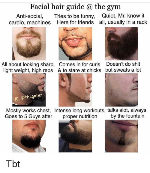 reps: Facial hair guide @ the gym  Anti-social, Tries to be funny, Quiet, Mr. know it  cardio, machines Here for friends all, usually in a rack  All about looking sharp, Comes in for curls Doesn't do shit  light weight, high reps & to stare at chicks but sweats a lot  IC: @thegainz  Mostly works chest, Intense long workouts, talks alot, always  Goes to 5 Guys after proper nutrition by the fountain Tbt