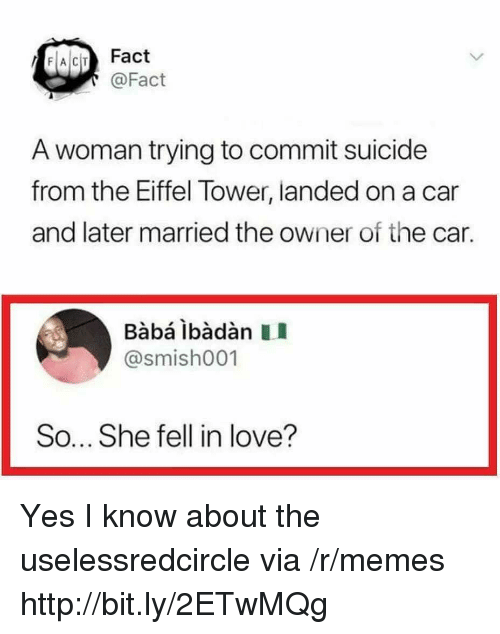 Baba: FACIT Fact  @Fact  A woman trying to commit suicide  from the Eiffel Tower, landed on a car  and later married the owner of the car.  Babá ibàdàn II  @smish001  So... She fell in love? Yes I know about the uselessredcircle via /r/memes http://bit.ly/2ETwMQg