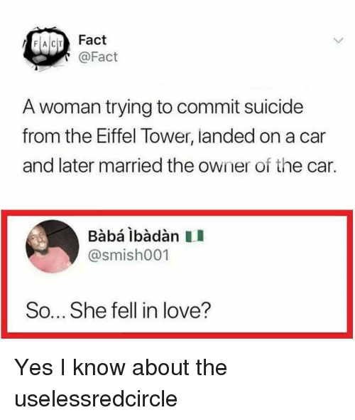 Baba: FACIT Fact  @Fact  A woman trying to commit suicide  from the Eiffel Tower, landed on a car  and later married the owner of the car.  Babá ibàdàn II  @smish001  So... She fell in love? Yes I know about the uselessredcircle