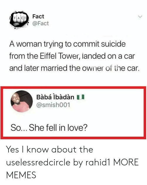 Baba: FACIT Fact  @Fact  A woman trying to commit suicide  from the Eiffel Tower, landed on a car  and later married the owner of the car.  Babá ibàdàn II  @smish001  So... She fell in love? Yes I know about the uselessredcircle by rahid1 MORE MEMES