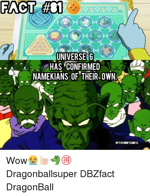 Dragonball, Memes, and Wow: FACT  #01A  UNIVERSE G  HAS CONFIRMED  NAMEKIANS OF THEIR.OWN  eYAHBOYGOKU Wow😭👍🏻🐲🉐 Dragonballsuper DBZfact DragonBall