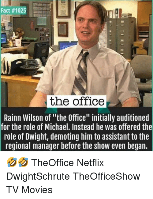 """Rainn Wilson: Fact#1025  the office  Rainn Wilson of """"the Office"""" initially auditioned  for the role of Michael. Instead he was offered the  role of Dwight, demoting him to assistant to the  reqional manager before the show even began. 🤣🤣 TheOffice Netflix DwightSchrute TheOfficeShow TV Movies"""