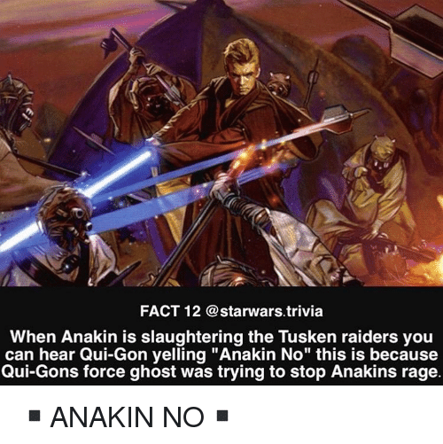 """Memes, Ghost, and Raiders: FACT 12 @starwars trivia  When Anakin is slaughtering the Tusken raiders you  can hear Qui-Gon yelling """"Anakin No"""" this is because  Qui-Gons force ghost was trying to stop Anakins rage. ▪️ANAKIN NO▪️"""