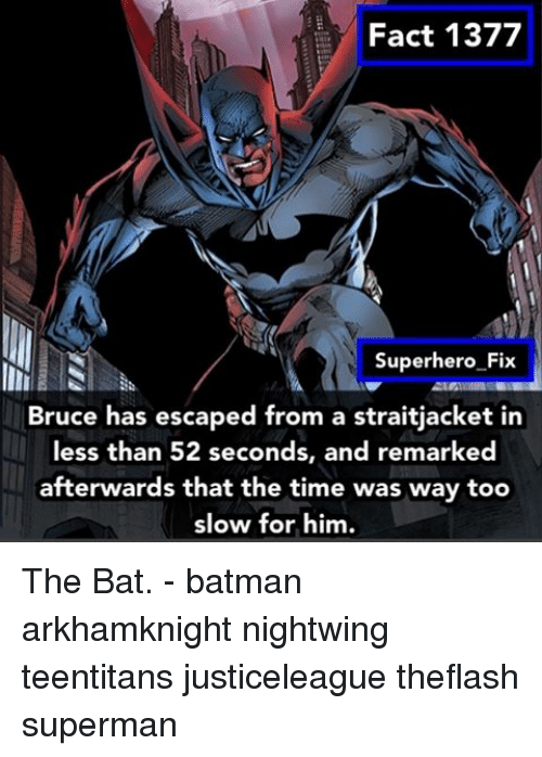 Batman, Memes, and Superhero: Fact 1377  Superhero Fix  Bruce has escaped from a straitjacket in  less than 52 seconds, and remarked  afterwards that the time was way too  slow for him. The Bat. - batman arkhamknight nightwing teentitans justiceleague theflash superman