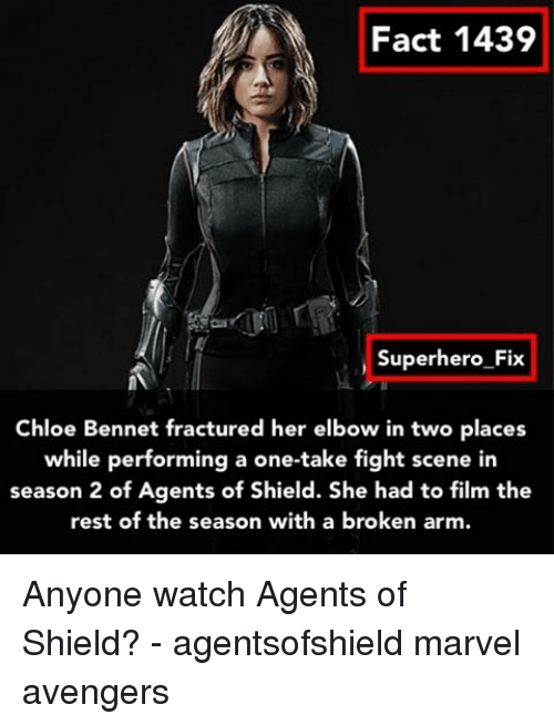 fight scenes: Fact 1439  Superhero Fix  Chloe Bennet fractured her elbow in two places  while performing a one-take fight scene in  season 2 of Agents of Shield. She had to film the  rest of the season with a broken arm. Anyone watch Agents of Shield? - agentsofshield marvel avengers