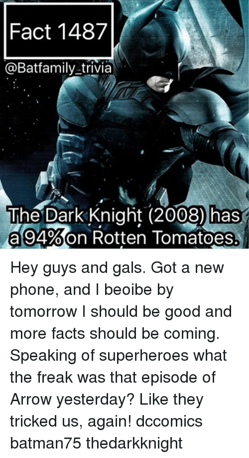 rotten tomato: Fact 1487  @Batfamily trivia  The Dark Knight (2008) has  a 94%on Rotten Tomatoes Hey guys and gals. Got a new phone, and I beoibe by tomorrow I should be good and more facts should be coming. Speaking of superheroes what the freak was that episode of Arrow yesterday? Like they tricked us, again! dccomics batman75 thedarkknight