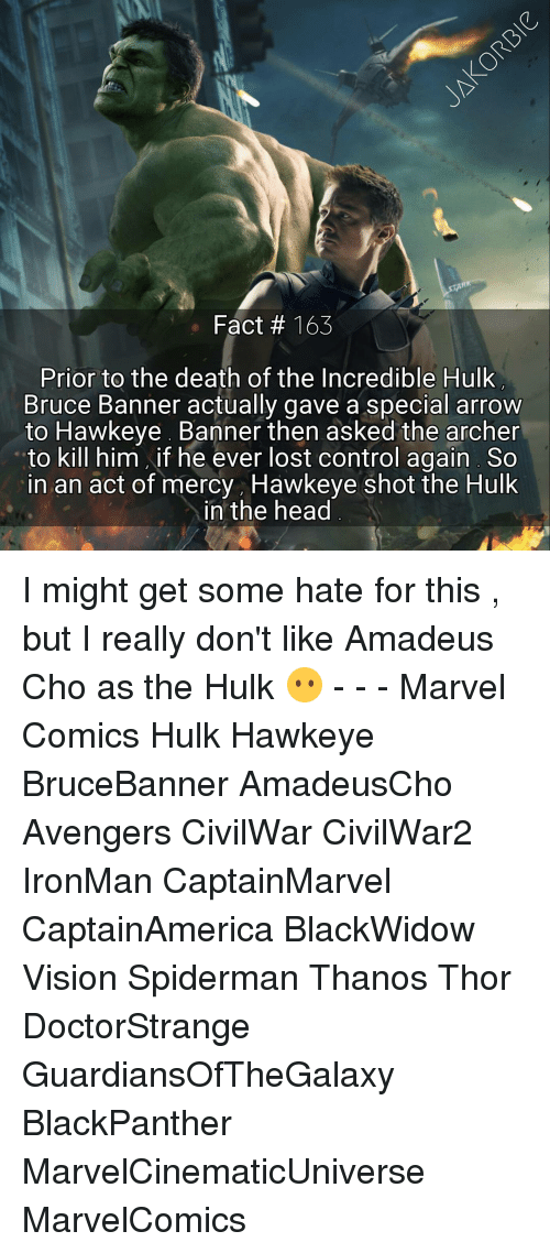 Marvel Comics, Memes, and SpiderMan: Fact 163  Prior to the death of the Incredible Hulk  Bruce Banner actually gave a special arrow  to Hawkeye Banner then asked the archer  to kill him  if he ever lost control again So  in an act of mercy Hawkeye shot the Hulk  in the head I might get some hate for this , but I really don't like Amadeus Cho as the Hulk 😶 - - - Marvel Comics Hulk Hawkeye BruceBanner AmadeusCho Avengers CivilWar CivilWar2 IronMan CaptainMarvel CaptainAmerica BlackWidow Vision Spiderman Thanos Thor DoctorStrange GuardiansOfTheGalaxy BlackPanther MarvelCinematicUniverse MarvelComics