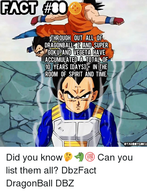 Dragonball, Goku, and Memes: FACT  #80  THROUGH OUT ALL OF  DRAGONBALLZAND SUPER  GOKU AND VEGETA HAVE  ACCUMULATEDLA TOTAL OF  10 YEARS IDAYSI IN THE  ROOM OF SPIRIT AND TIME  OYAHBOYGOKU Did you know🤔🐲🉐 Can you list them all? DbzFact DragonBall DBZ