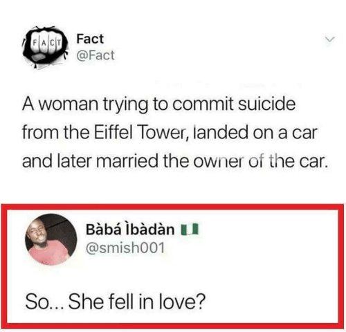 Baba: FACT Fact  @Fact  A woman trying to commit suicide  from the Eiffel Tower, landed on a car  and later married the owner of the car.  Bàbá lbàdàn  @smish001  So... She fell in love?