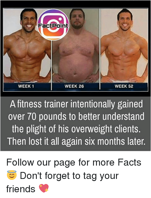 All Again: Fact Point  WEEK 1  WEEK 26  WEEK 52  A fitness trainer intentionally gained  over 70 pounds to better understand  the plight of his overweight clients.  Then lost it all again six months later. Follow our page for more Facts 😇 Don't forget to tag your friends 💖