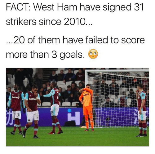 Goals, Memes, and 🤖: FACT: West Ham have signed 31  strikers since 2010  20 of them have failed to score  more than 3 goals  betway  betw  14