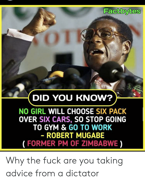 robert mugabe: Factbytes  TOT  DID YOU KNOW?  NO GIRL WILL CHOOSE SIX PACK  OVER SIX CARS, SO STOP GOING  TO GYM & GO TO WORK  - ROBERT MUGABE  (FORMER PM OF ZIMBABWE) Why the fuck are you taking advice from a dictator