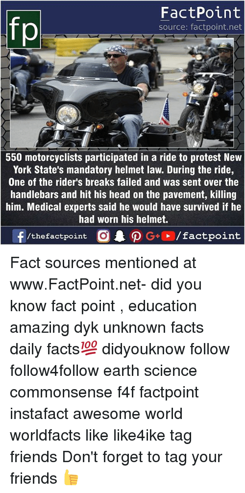 Facts, Friends, and Head: FactPoint  source: factpoint.net  550 motorcyclists participated in a ride to protest New  York State's mandatory helmet law. During the ride,  One of the rider's breaks failed and was sent over the  handlebars and hit his head on the pavement, killing  him. Medical experts said he would have survived if he  had worn his helmet. Fact sources mentioned at www.FactPoint.net- did you know fact point , education amazing dyk unknown facts daily facts💯 didyouknow follow follow4follow earth science commonsense f4f factpoint instafact awesome world worldfacts like like4ike tag friends Don't forget to tag your friends 👍