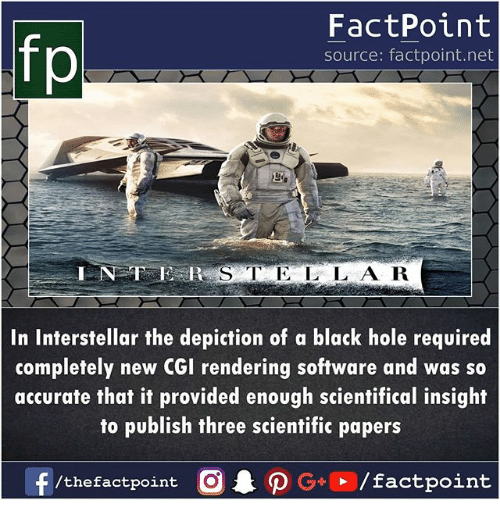 Interstellar, Memes, and Black: FactPoint  source: factpoint.net  In Interstellar the depiction of a black hole required  completely new CGI rendering software and was so  accurate that it provided enough scientifical insight  to publish three scientific papers  f/thefactpoint O·P G . / factpoint