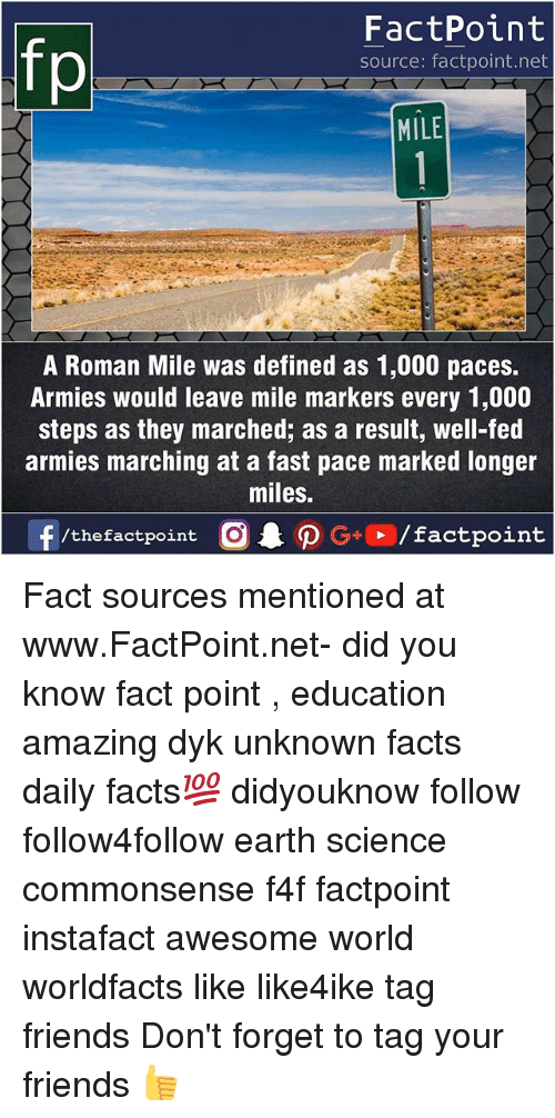 Facts, Friends, and Memes: FactPoint  source: factpoint.net  MILE  A Roman Mile was defined as 1,000 paces.  Armies would leave mile markers every 1,000  steps as they marched; as a result, well-fed  armies marching at a fast pace marked longer  miles.  f/thefactpoint  G+/factpoint Fact sources mentioned at www.FactPoint.net- did you know fact point , education amazing dyk unknown facts daily facts💯 didyouknow follow follow4follow earth science commonsense f4f factpoint instafact awesome world worldfacts like like4ike tag friends Don't forget to tag your friends 👍