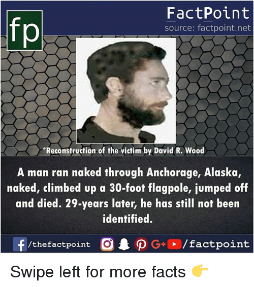 Facts, Memes, and Alaska: FactPoint  source: factpoint.net  Reconstruction of the victim by David R. Wood  A man ran naked through Anchorage, Alaska,  naked, climbed up a 30-foot flagpole, jumped off  and died. 29-years later, he has still not been  identified. Swipe left for more facts 👉
