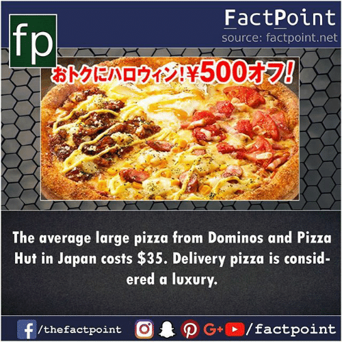 Memes, Pizza, and Pizza Hut: FactPoint  source: factpoint.net  The average large pizza from Dominos and Pizza  Hut in Japan costs $35. Delivery pizza is consid-  ered a luxury.