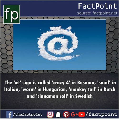 Bosnian: FactPoint  source: factpoint.net  The'@' sign is called 'crazy A' in Bosnian, 'snail' in  Italian, 'worm' in Hungarian, 'monkey tail' in Dutch  and 'cinnamon roll' in Swedish