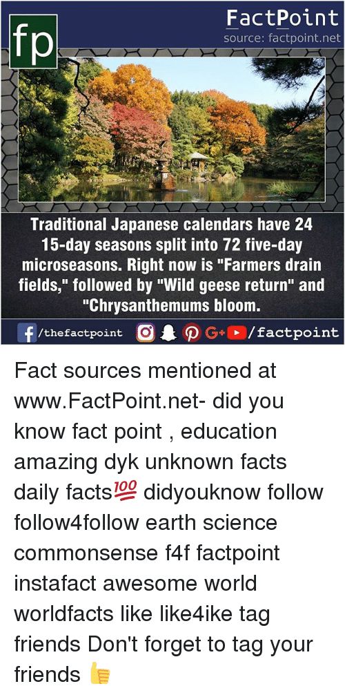 "Facts, Friends, and Memes: FactPoint  source: factpoint.net  Traditional Japanese calendars have 24  15-day seasons split into 72 five-day  microseasons. Right now is ""Farmers drain  fields,"" followed by ""Wild geese return"" and  ""Chrysanthemums bloom.  f/thefactpoint  O.PG+、/factpoint Fact sources mentioned at www.FactPoint.net- did you know fact point , education amazing dyk unknown facts daily facts💯 didyouknow follow follow4follow earth science commonsense f4f factpoint instafact awesome world worldfacts like like4ike tag friends Don't forget to tag your friends 👍"