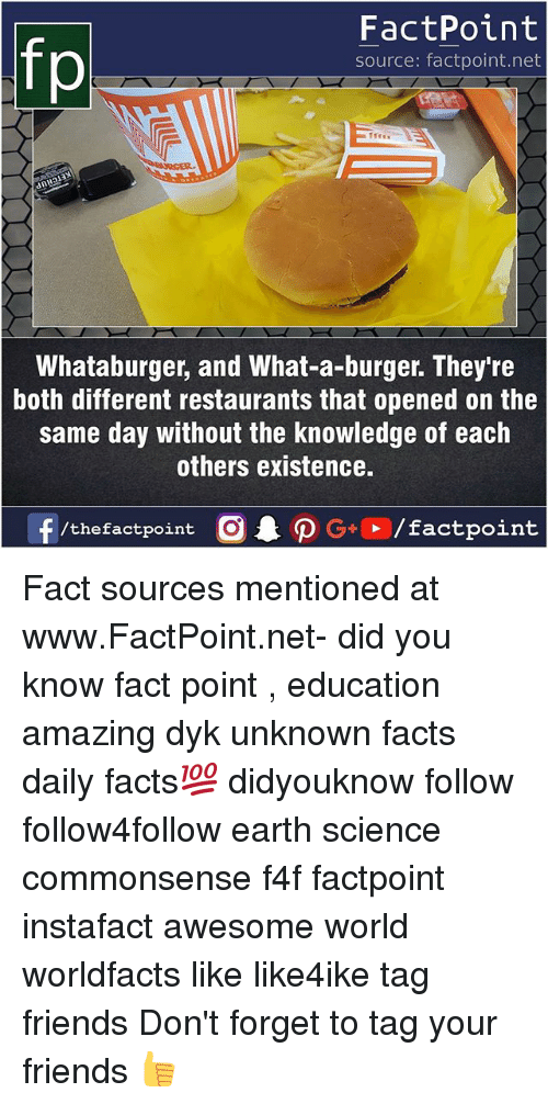 Facts, Friends, and Memes: FactPoint  source: factpoint.net  Whataburger, and What-a-burger. They're  both different restaurants that opened on the  same day without the knowledge of each  others existence.  f/thefactpoint  G+/factpoint Fact sources mentioned at www.FactPoint.net- did you know fact point , education amazing dyk unknown facts daily facts💯 didyouknow follow follow4follow earth science commonsense f4f factpoint instafact awesome world worldfacts like like4ike tag friends Don't forget to tag your friends 👍