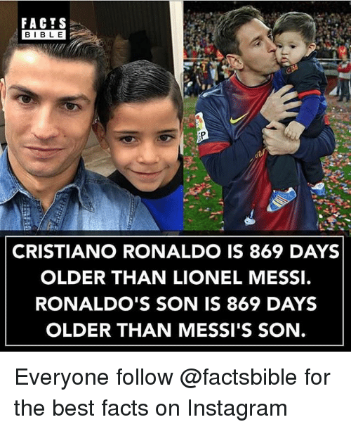 Bibled: FACTS  BIBLE  BIBL E  CRISTIANO RONALDO IS 869 DAYS  OLDER THAN LIONEL MESSI.  RONALDO'S SON IS 869 DAYS  OLDER THAN MESSI'S SON. Everyone follow @factsbible for the best facts on Instagram