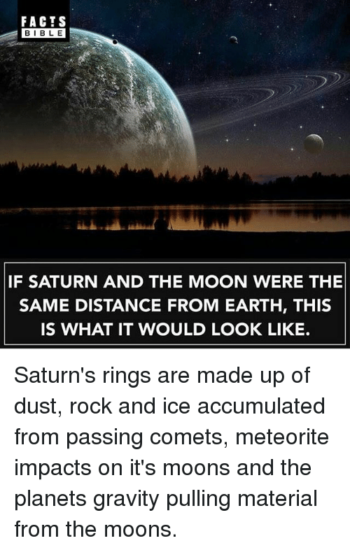 Facts, Memes, and Bible: FACTS  BIBLE  IF SATURN AND THE MOON WERE THE  SAME DISTANCE FROM EARTH, THIS  IS WHAT IT WOULD LOOK LIKE. Saturn's rings are made up of dust, rock and ice accumulated from passing comets, meteorite impacts on it's moons and the planets gravity pulling material from the moons.