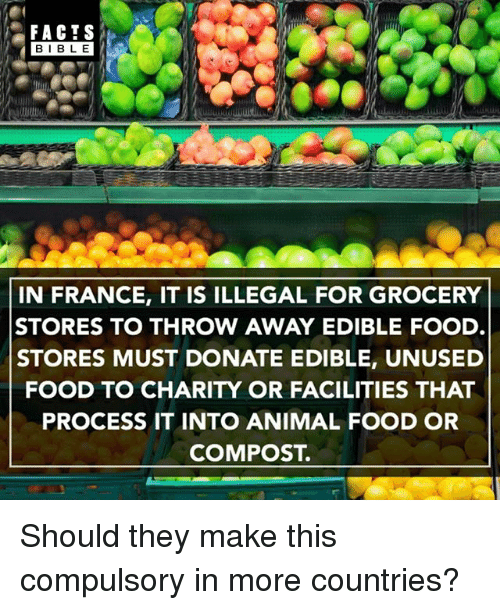 compulsory: FACTS  BIBLE  IN FRANCE, IT IS ILLEGAL FOR GROCERY  STORES TO THROW AWAY EDIBLE FOOD  STORES MUST DONATE EDIBLE, UNUSED  FOOD TO CHARITY OR FACILITIES THAT  PROCESS IT INTO ANIMAL FOOD OR  COMPOST. Should they make this compulsory in more countries?
