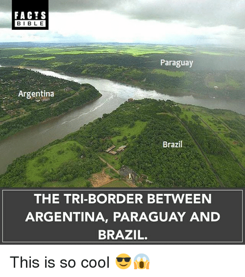 Facts, Memes, and Argentina: FACTS  BIBLE  Paraguay  Argentina  Brazil  THE TRI-BORDER BETWEEN  ARGENTINA, PARAGUAY AND  BRAZIL. This is so cool 😎😱