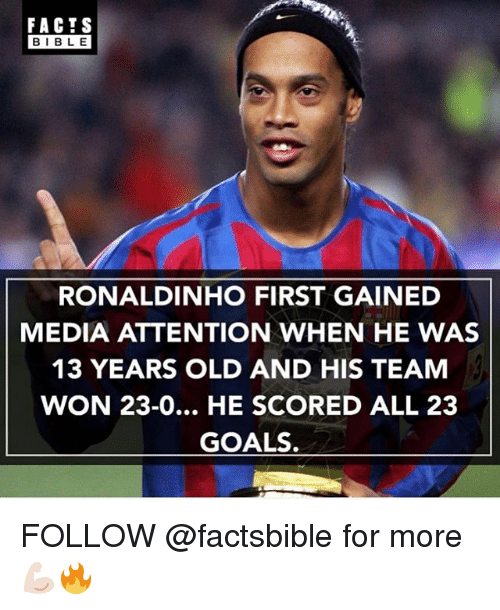Memes, 🤖, and Media: FACTS  BIBLE  RONALDINHO FIRST GAINED  MEDIA ATTENTION WHEN HE WAS  13 YEARS OLD AND HIS TEAM  WON 23-0... HE SCORED ALL 23  GOALS. FOLLOW @factsbible for more 💪🏻🔥
