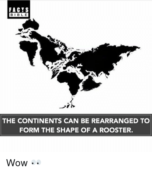 Facts, Memes, and Wow: FACTS  BIBLE  THE CONTINENTS CAN BE REARRANGED TO  FORM THE SHAPE OF A ROOSTER. Wow 👀