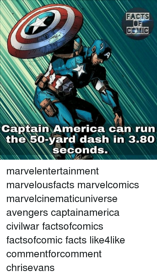 America, Facts, and Memes: FACTS  Captain America can run  the 50-yard dash in 3.80  seconds. marvelentertainment marvelousfacts marvelcomics marvelcinematicuniverse avengers captainamerica civilwar factsofcomics factsofcomic facts like4like commentforcomment chrisevans