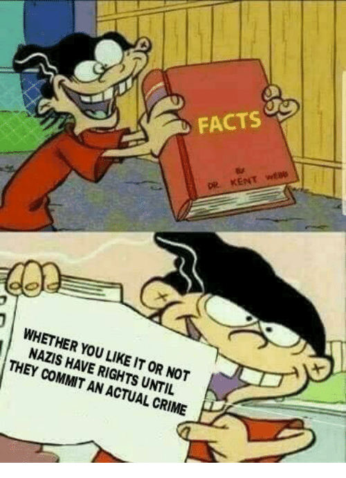 Crime, Facts, and Memes: FACTS  DiR  WHETHER YOU LIKE IT OR NOT  NAZIS HAVE RIGHTS UNTIL  THEY COMMIT AN ACTUAL CRIME